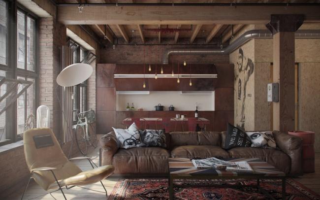 Холостяцька квартира у вінтажному стилі