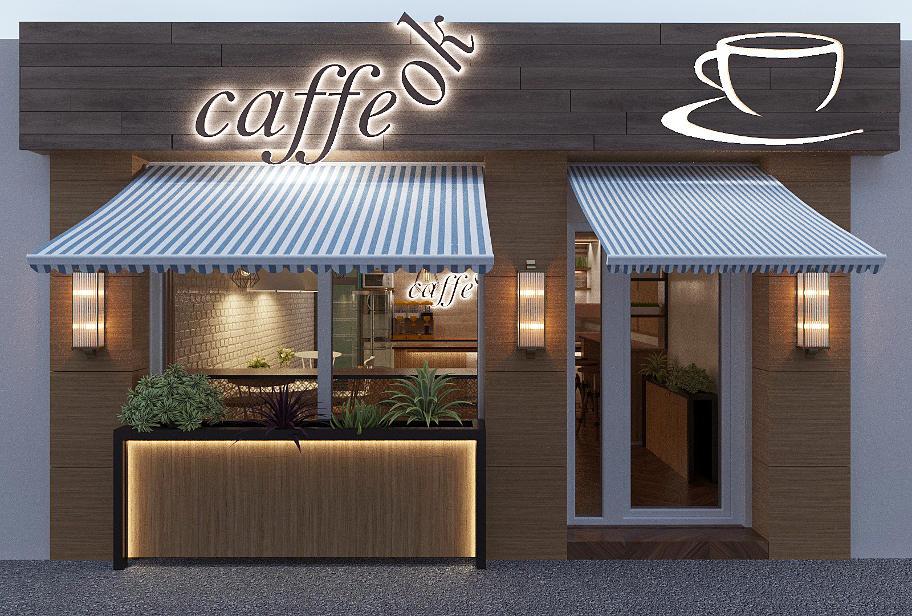 На фотографіЇ фасад кафе зі скляними дверима,та з великим вікном, прикрашеним квітами.