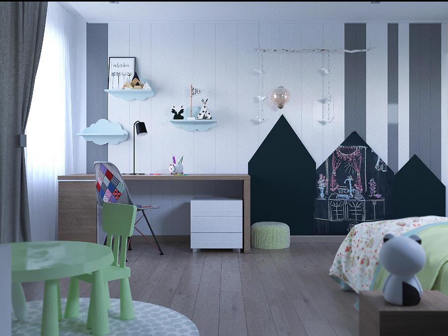 На фото інтер'єр дитячоЇ кімнати з ліжком,дошкою для малювання,полками у вигляді хмар,столом зі стільцем.
