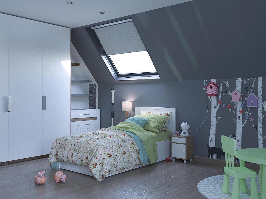 На фотографіЇ мебльована дитяча кімната. На намальованих,на стіні,березах прибиті різнокольорові шпаківні.