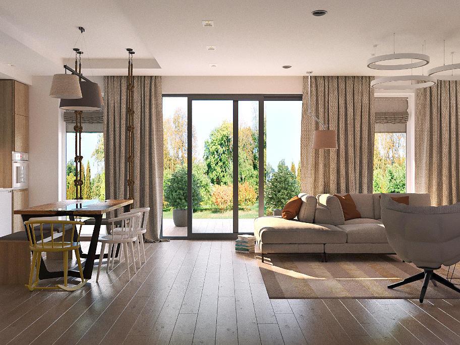 На фото мебльована кімната,в теплих тонах,з великими скляними дверима,які виходять в сад.