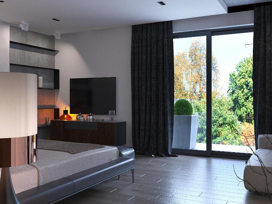 На фото дизайн інтер'єру спальні.На проти ліжка телевізор,на стіні полиці на яких стоять вази.