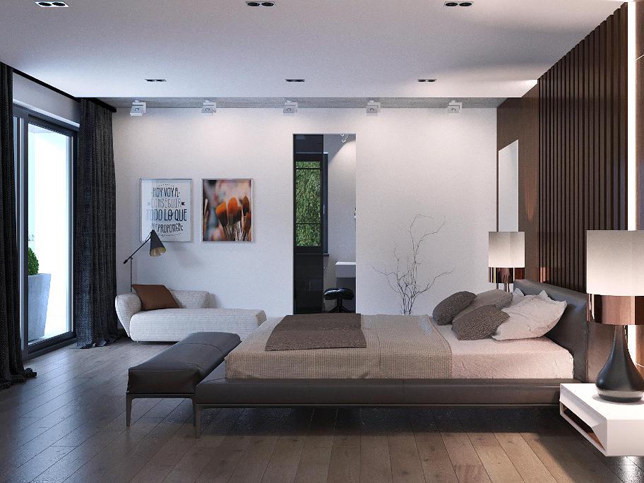 На фотографіЇ інтер'єр спальні.Серед кімнати стоїть ліжко на проти великого вікна,біля ліжка стоять світильники.
