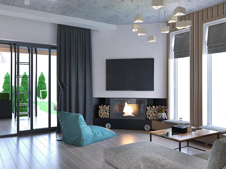 На фото кімната з каміном,біля вікна стоять журнальний столик з диваном та зручне крісло.