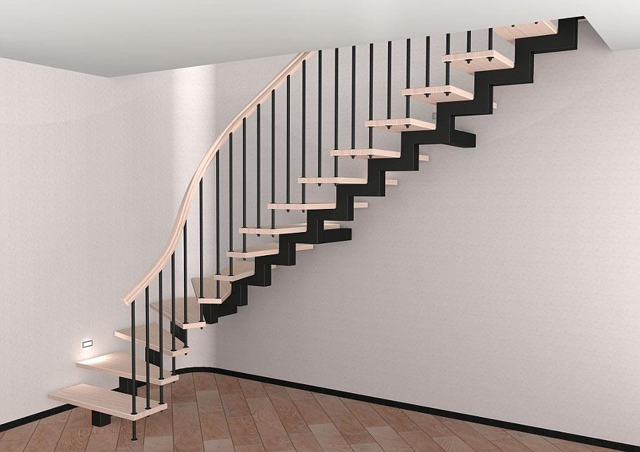 На фото сходи, які мають всього один центральний косоур, вони виглядають дуже легкими і повітряними.